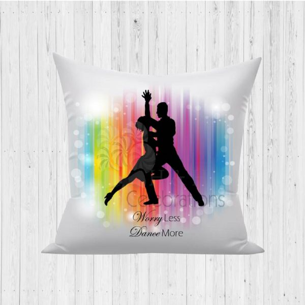 Worry Less Dance More Rainbow Coloured Decorative Cushion